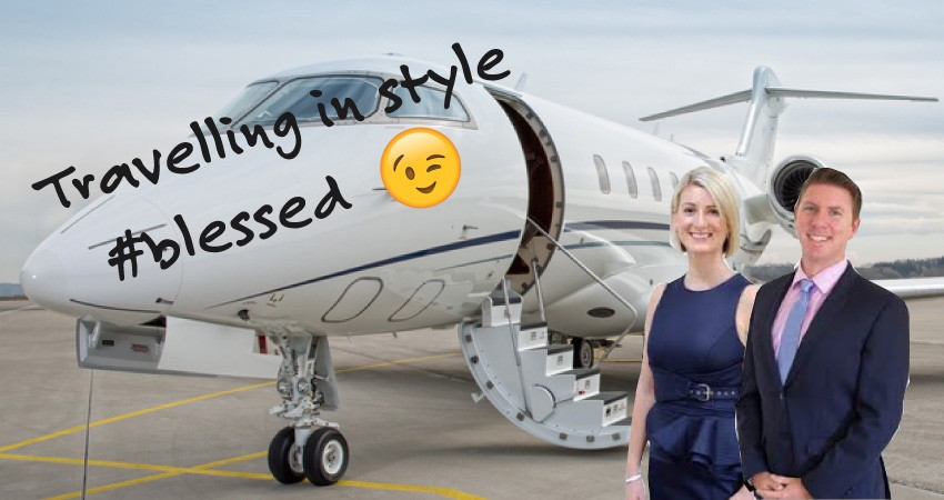 Tyrone and Louise Wiseman with a fake private jet