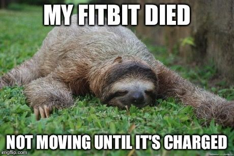 My fitbit died. Not moving until it's charged.