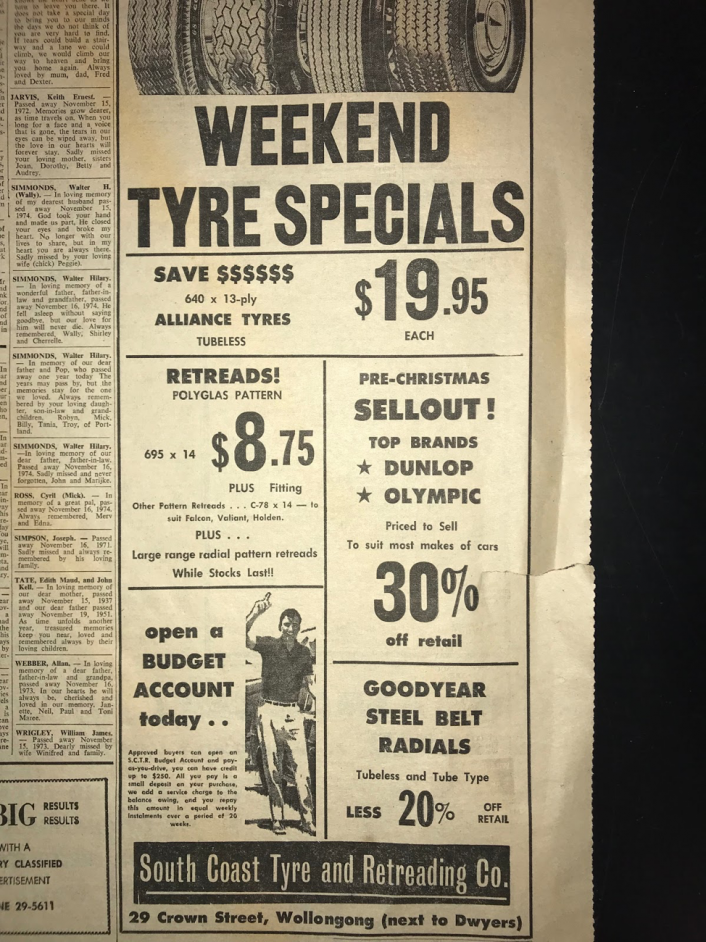 Tyre Advertisement old newspaper